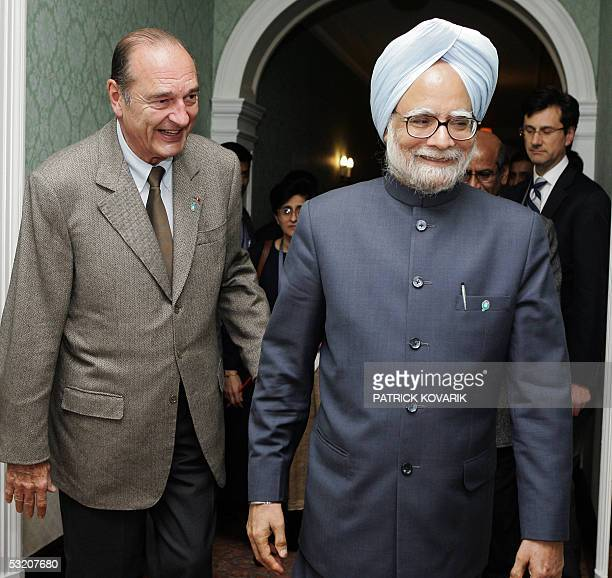 United Kingdom: French President Jacques Chirac is pictured next to Indian Prime Minister Manmohan Singh during the G8 summit in Gleneagles 07 July...