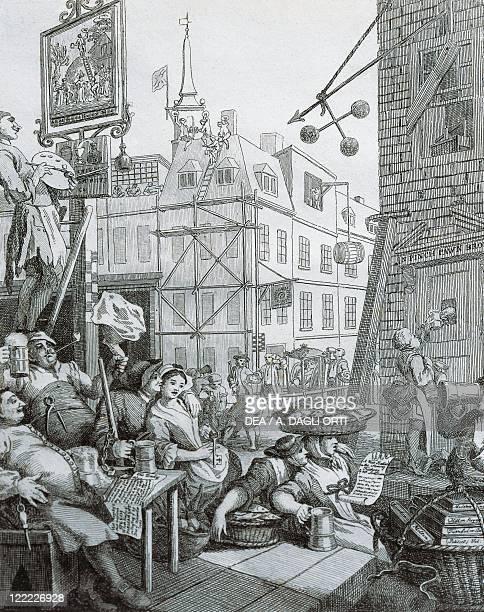 United Kingdom Great Britain England London 18th century Beer Street Engraving by William Hogarth
