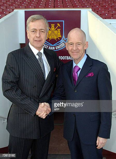 Icelandic businessman Eggert Magnusson is pictured with West Ham United exChairman Terry Brown at West Ham Football Club in London 21 November 2006...