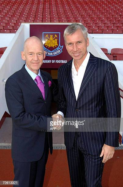 Icelandic businessman Eggert Magnusson is pictured with West Ham United manager Alan Pardew at West Ham Football Club in London 21 November 2006...