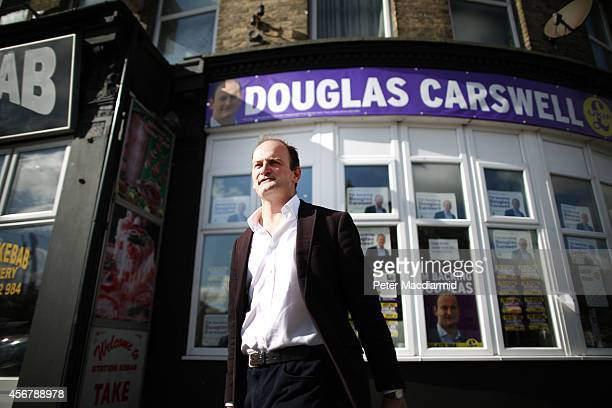 United Kingdom Independence Party candidate Douglas Carswell talks to reporters on October 7 2014 in ClactononSea England A byelection is being held...