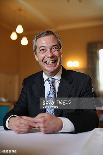 United Kingdom Independence Party leader Nigel Farage poses for a picture during the final day of the party's conference on February 28, 2015 in...