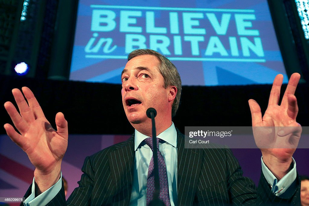 United Kingdom Independence Party leader Nigel Farage speaks during a conference in which the party's immigration policy was unveiled on March 4, 2015 in London, England. Farage stated that UKIP wants immigration to return to 'normal' levels with around 20,000 to 50,000 migrants issued with work permits.
