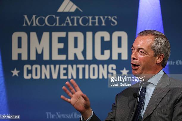 United Kingdom Independence Party leader Nigel Farage speaks during the McClatchy Morning Buzz at the RNC on July 20 2016 in Cleveland Ohio UKIP...