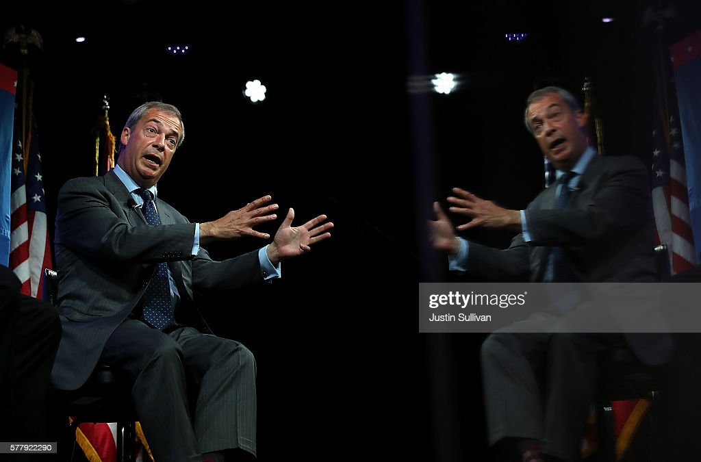 UKIP Leader Nigel Farage In Cleveland For Republican National Convention : News Photo