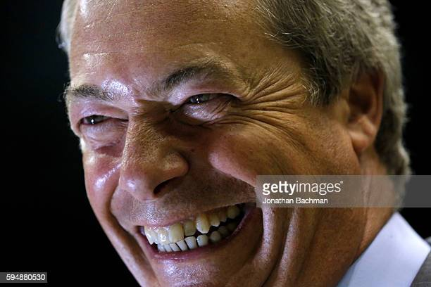 United Kingdom Independence Party leader Nigel Farage speaks to media after a campaign rally for Republican Presidential nominee Donald Trump at the...