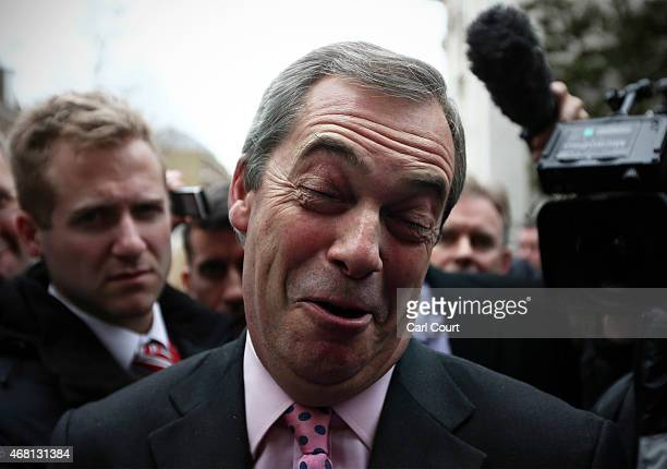 United Kingdom Independence Party leader Nigel Farage speaks to the media after unveiling his party's key election pledges on March 30 2015 in London...
