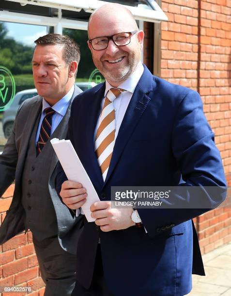 United Kingdom Independence Party leader Paul Nuttall arrives to deliver his resignation speech at a press conference in Boston eastEngland on June 9...
