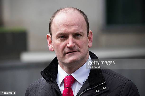 United Kingdom Independence Party Member of Parliament Douglas Carswell arrives to attend a conference in which the party's immigration policy was...