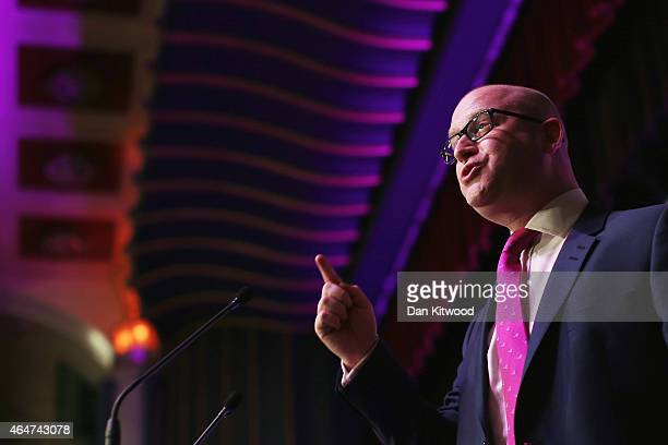 United Kingdom Independence Party member Paul Nuttall MEP speaks during the party's conference on February 28 2015 in Margate England The antiEU...