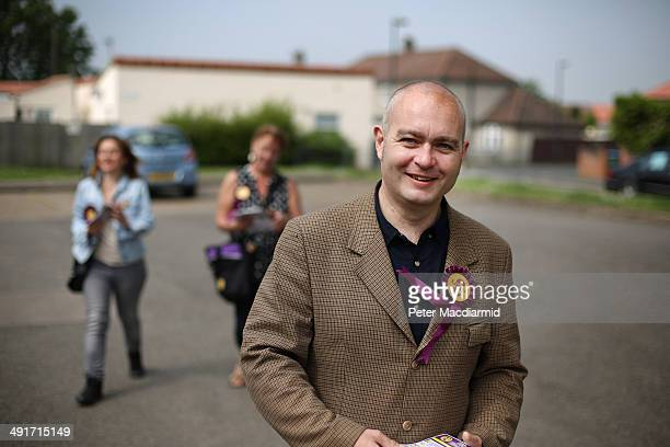 United Kingdom Independence Party member Paul Oakley canvasses for votes ahead of the European Elections on May 17 2014 in south London England Votes...