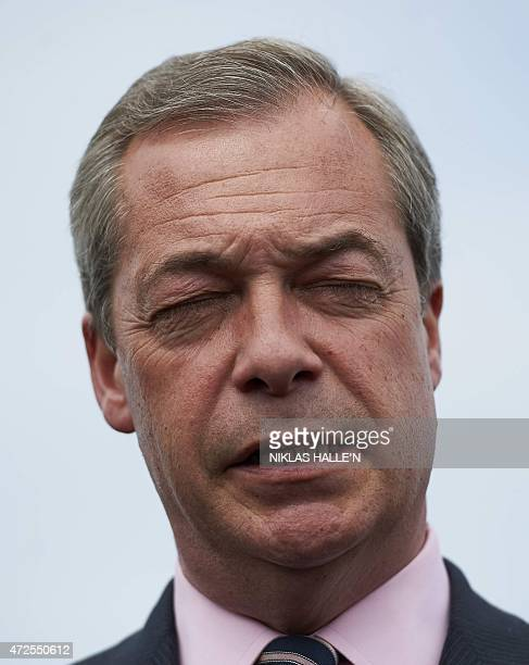 United Kingdom Independent Party leader Nigel Farage addresses the media during a press conference in Margate southeast England on May 8 2015 after...