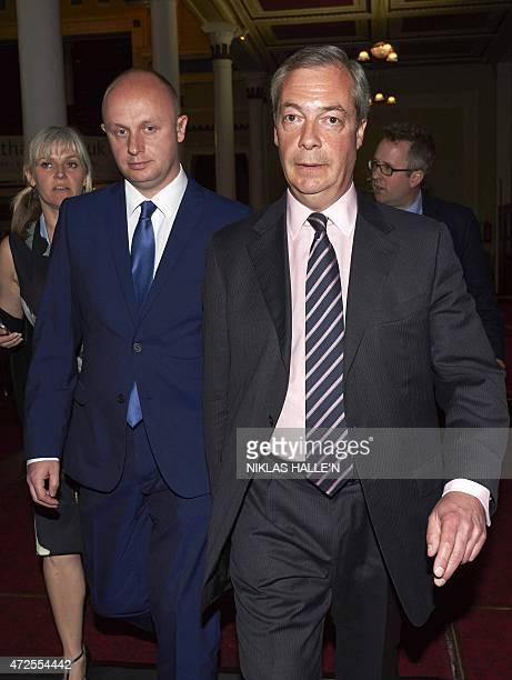 United Kingdom Independent Party leader Nigel Farage leaves after failing to win the parliamentary seat of Thanet South in Margate southeast England...
