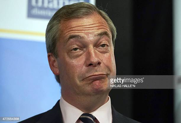United Kingdom Independent Party leader Nigel Farage reacts after he failed to be elected to the parliamentary seat of Thanet South in Margate...