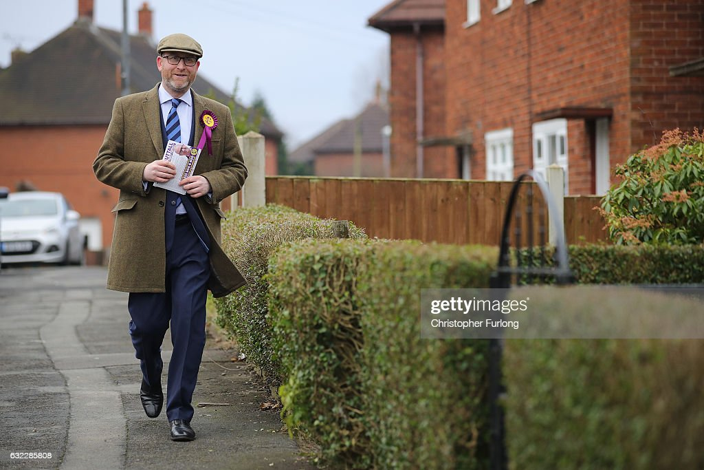 United Kingdom Independent Party (UKIP) leader Paul Nuttall canvasses for votes in Bentilee candidate after he announced that he is to stand for member of parliament in the Stoke-On-Trent Central by-election on January 21, 2017 in Stoke-on-Trent, England. The Stoke-On-Trent central by-election has been called after sitting Labour MP Tristram Hunt resigned from his seat to be a museum director.