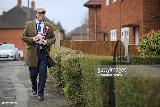 United Kingdom Independent Party leader Paul Nuttall canvasses for votes in Bentilee candidate after he announced that he is to stand for member of...