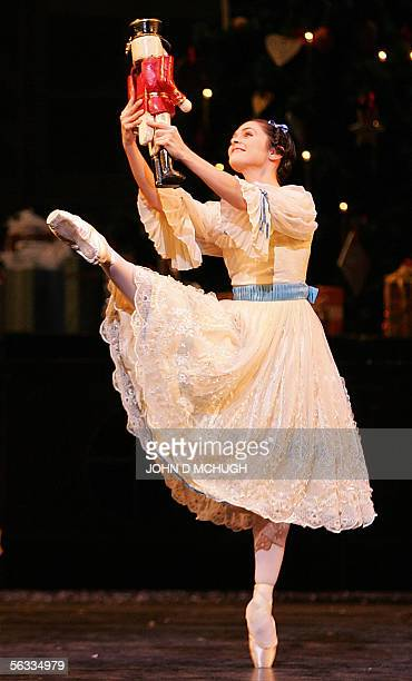 Iohna Loots who plays Clara in the Royal Ballet's performance of 'The Nutcracker' by Tchaikovsky runs through a dress rehersal at the Royal Opera...