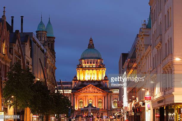 united kingdom, ireland, northern ireland, belfast, view of city hall at donegall place - belfast stock pictures, royalty-free photos & images