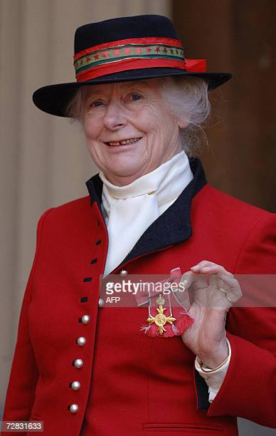 Lady Caroline the Countess of Cranbrook is pictured after receiving her Officer of the British Empire award from Queen Elizabeth II at Buckingham...