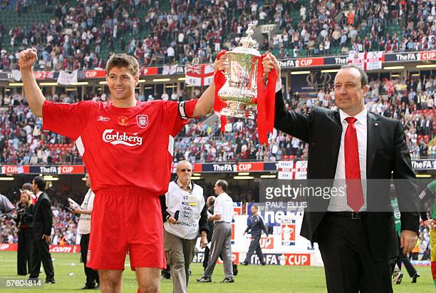 Liverpool manager Raphael Benitez and captain Steven Gerrard lift the FA Cup after Liverpool beat West Ham 31 on penalties during the FA Cup final at...
