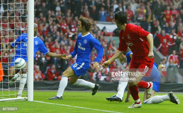 Liverpool's Luis Garcia watches as Chelsea's William Gallas fails to keep the ball from Chelsea's goal during their second leg semifinal football...