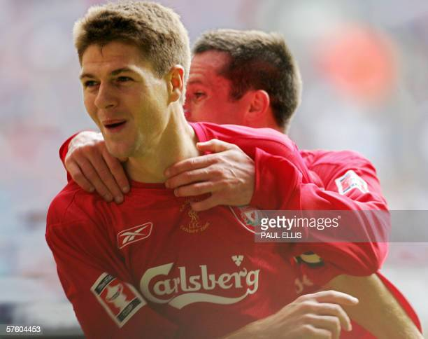 Liverpool's Steven Gerrard celebrates after scoring his second goal against West Ham during the FA Cup final at the Millennium Stadium in Cardiff 13...