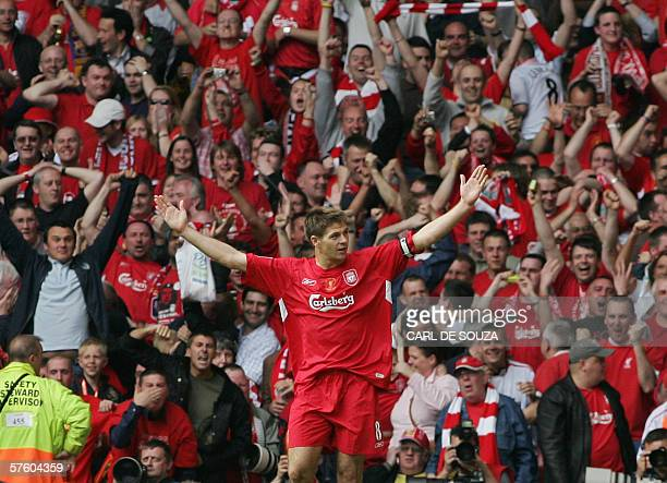 United Kingdom: Liverpool's Steven Gerrard celebrates after scoring against West Ham during the FA Cup final at the Millennium Stadium in Cardiff, 13...