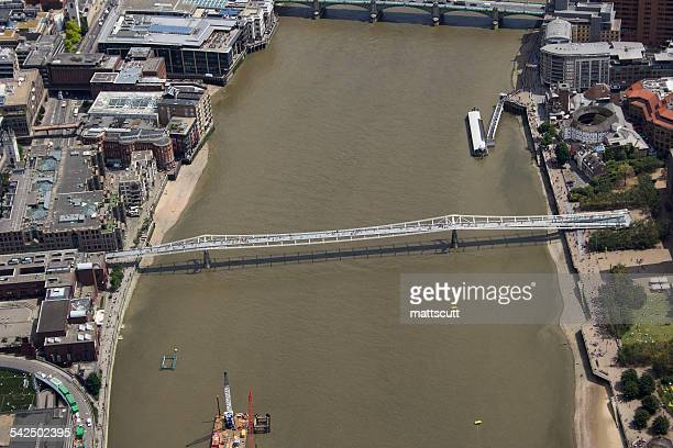 United Kingdom, London, Aerial view of Millennium Bridge