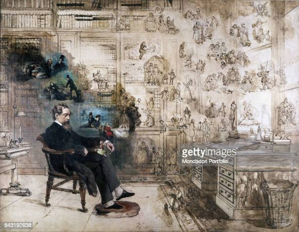 United Kingdom London Charles Dickens museum Whole artwork view British writer Charles Dickens sleeping on a chiar and dreaming about the characters...
