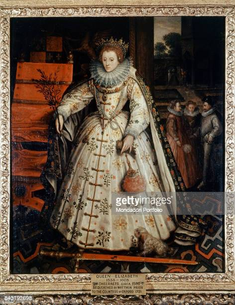 United Kingdom London National Portrait Gallery Whole artwork view Portrait of Elizabeth I of England with a branch in the hand and the sword at her...