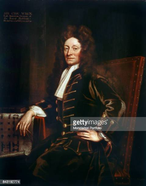 United Kingdom London National Portrait Gallery Whole artwork view Portrait of English architect physician and mathematician Christopher Wren holding...