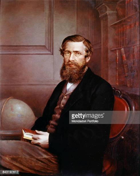 United Kingdom London National Portrait Gallery Whole artwork view Portrait of Welsh naturalist biologist and geographer Alfred Russel Wallace...