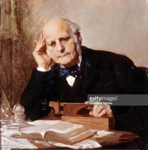 United Kingdom London National Portrait Gallery Whole artwork view Portrait of British explorer anthropologist and climatologist Francis Galton in...