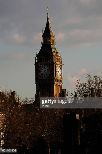 United Kingdom London The Big Ben clock tower at the Westminster Palace 19th century Detail