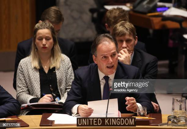 United Kingdom Minister of State for Asia and the Pacific Mark Field addresses during UN Security Council meeting to discuss the topic of 'Building...