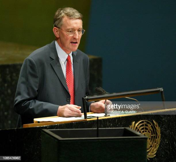 United Kingdom Minister of State Hilary Benn speaks to the United Nations General Assembly 58th Session special session on HIV/AIDS at the United...