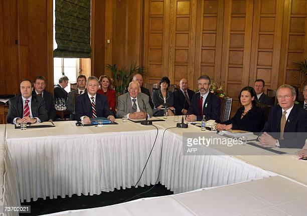 United Kingdom: MP Nigel Dodds, Democratic Unionist Party deputy leader Peter Robinson, DUP leader The Reverend Ian Paisley, Sinn Fein President...