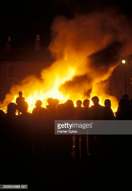 United Kingdom Northern Ireland Belfast 1980s July 12th Orange Day Bonfire celebration during the so called Troubles