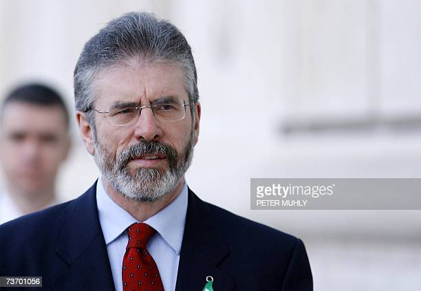 United Kingdom: President of Sinn Fein Gerry Adams arrives at Stormont in Belfast, Northern Ireland, 26 March 2007. Northern Ireland Secretary Peter...
