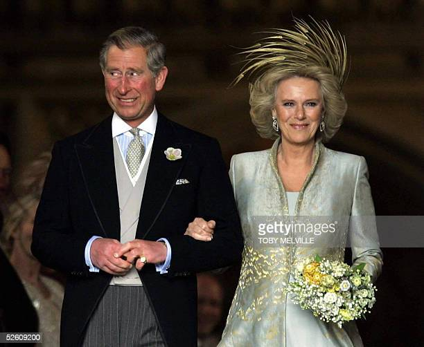 Prince Charles and Camilla the Duchess of Cornwall leave a blessing at St Georges Chapel in Windsor Castle after their civil wedding 09 April 2005...
