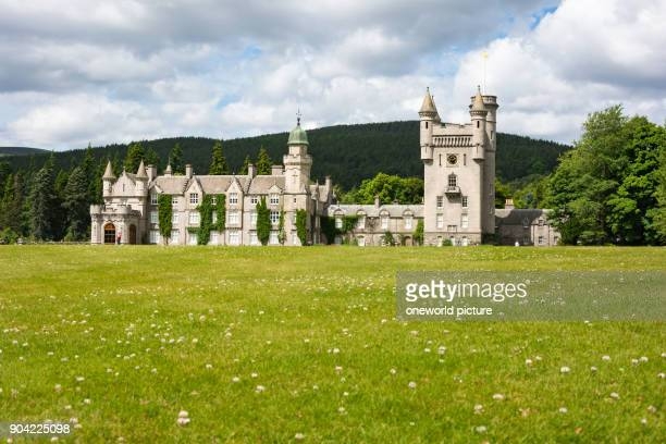 United Kingdom, Scotland, Aberdeenshire, Balmoral, View of the Balmoral Castle, Balmoral Castle is a castle located on the River Dee beneath the...