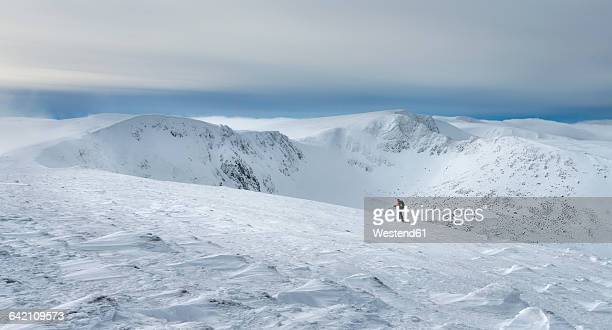 united kingdom, scotland, cairngorms, coire an t-sneachda, ski tourer - skiing stock pictures, royalty-free photos & images