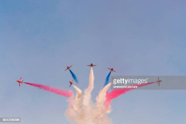United Kingdom, Scotland, East Lothian, North Berwick, Red Arrows at the annual Scotlands National Airshow in East Fortune, The Red Arrows in...