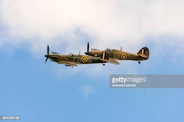 United Kingdom Scotland East Lothian North Berwick Spitfire and Hawker Hurrcane at the annual Scotlands National Airshow in East Fortune Spitfire and...