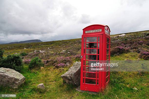 United Kingdom, Scotland, Red telephone box in the Highlands