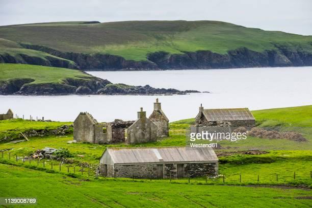 united kingdom, scotland, shetland islands, abandonded farm - isole shetland foto e immagini stock