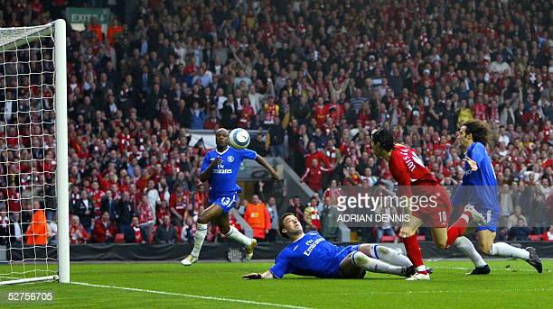 Sequence 3 of 7 Liverpool's Luis Garcia watches his shot at goal as Chelsea's John Terry William Gallas and Ricardo Carvalho look on during the...