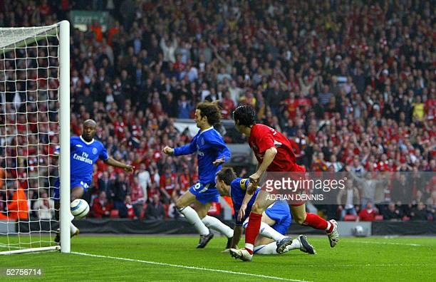 United Kingdom: Sequence 5 of 7 - Liverpool's Luis Garcia watches his shot head for goal as Chelsea's William Gallas tries to clear the ball as John...