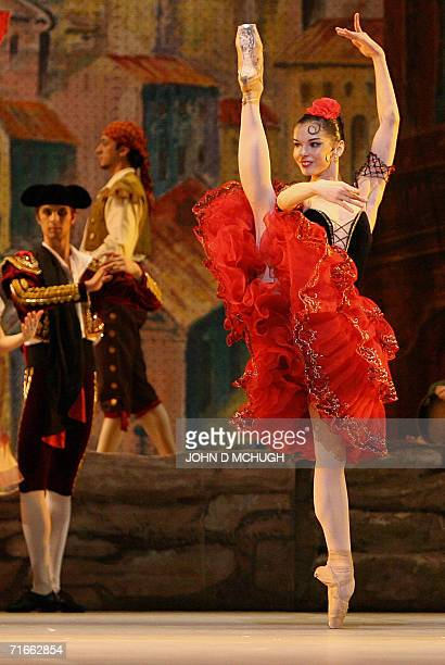 The Bolshoi Ballet's Natalia Osipova from Russia plays Kitri as she dances during a dress rehersal of 'Don Quixote' at the Royal Opera House in...