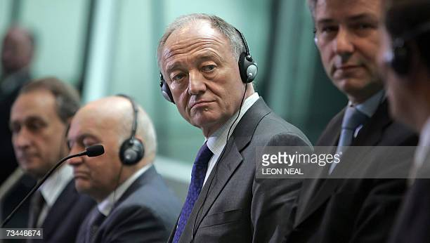 The Mayor of London Ken Livingstone attends a press conference with The Mayor of Paris Bertrand Delanoe the Mayor of Moscow Yuri Luzhkov the Mayor of...
